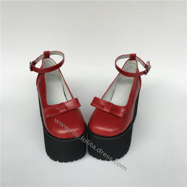 High Platform Matte Wine Lolita Shoes with Bows
