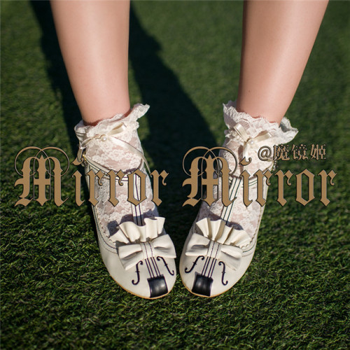 Mirror Mirror -Memorial song- Violin Embroidery Lolita Shoes - In Stock