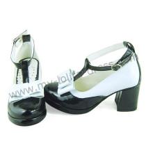 Black White T-Strap Shiny Lolita Shoes