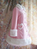 Pink Elegant Lolita Jacket Heart & Fur Collar