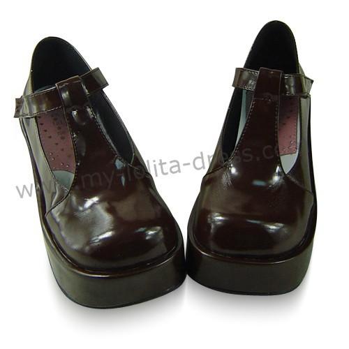 Shiny Coffee Platform Lolita Shoes