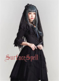 Surface Spell White Crystal & Black Agate Gothic Lolita High Waist Skirt