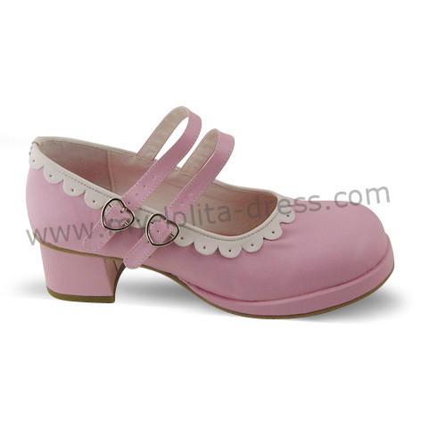 Pink Lolita Shoes White Trim