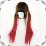 Brown Red Straight Lolita Wig