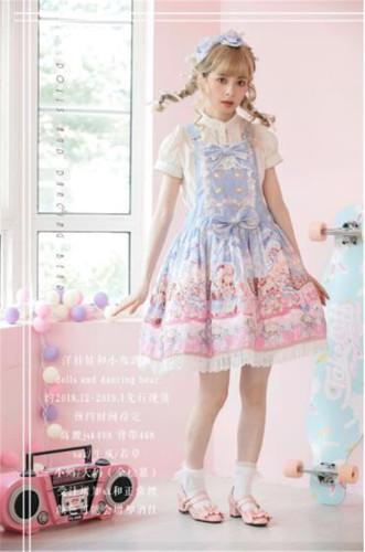 Doll and Bear Dance Series~Sweet Lolita Jumper/Skirt -Ready Made Sax L-XL JSK + Headdress In Stock