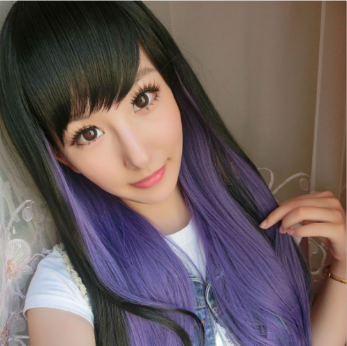 Black Purple Long Curls Lolita Wig - In Stock