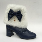 Black White Sweet Lolita Heels Boots with Bows