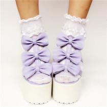 Purple Matte Bows Lolita Sandals