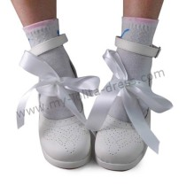 Matte White Satin Ribbon Lolita Shoes