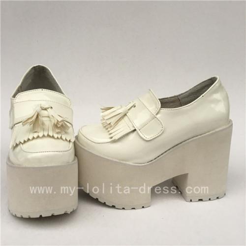 Gothic Matte Black Lolita High Platform Shoes 2 Versions