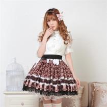 Sweet Chocolates Printed Lolita Pleated Skirt