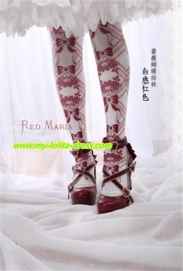 Rose Bows~ Vintage Double-sides Printed Lolita Tights