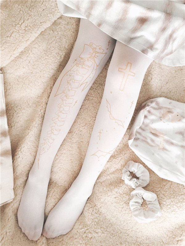 Degradation Of Tilting~120D Gold Stamping  Lolita tights