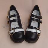 Black White Middle Heel Lolita Shoes