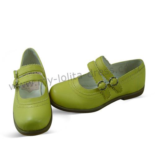 Cream Yellow 2 Straps Lolita Shoes