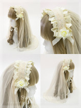 Cutie Creator Lace Bow Cross Lolita Veil - In Stock