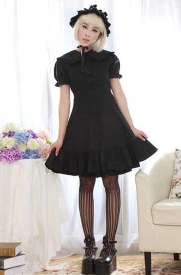 (Replica)Dream of Lolita Black Cotton Classic Lolita Dress Black M