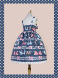 Infanta ~Strawberry Coffee Printed Lolita Jumper + headbow-Ready Made