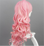 Sweet Pink Cosplay Long Curls Wig with Deatachable Two Ponytails