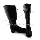 Matte Black Lace Up Girls Lolita Boots