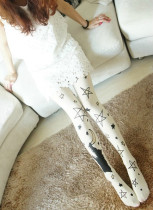 Japan Fashion Stars Crocodile Velvet Printed Tights