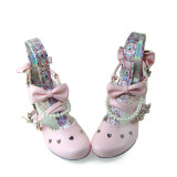 Sweet Pink Bows Hearts Lolita Shoes