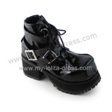Glossy Black Gothic Punk Belts Lolita Shoes