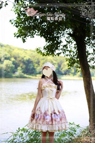 Ode to Flower&Bird~ Sweet Lolita Printed JSK Dress Dairywear Version Light Yellow  Version I Size M - In Stock