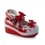 Sweet Red Whtie Lolita High Platform