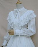 Vintage Court Wind Chiffon Lolita Blouse White Size S In Stock