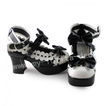 Sweet Black White Lolita Square Heels Shoes