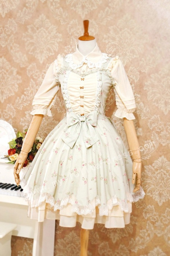 Elegant Sweet Lolita Jumper Dress with Flower Prints