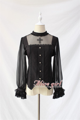 Cross Gothic Stand Collar Lolita Blouse -out
