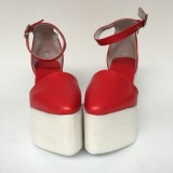 White Wedges Buckle Strap Sandals