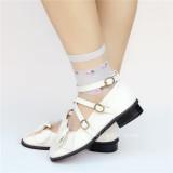 Sweet White Bow Belts Lolita Flat Shoes