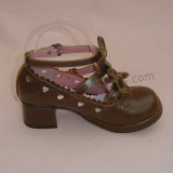 Light Brown Bows Antaina Tea Party Lolita Shoes Heels