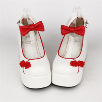 Angelic Imprint- Elegant Bow Embroidery Qi Lolita High Platform Shoes