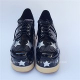 High Platform Glossy Black Lolita Shoes with Silver Stars Design