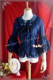 Sweet Babydoll Collar White Lolita Blouse Blue Stripe Size XL In Stock