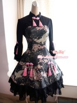 Strawberry Witch ***Sakura and Crane*** Printed Qi Lolita OP Dress