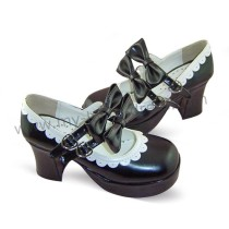 Black High Heels Lolita Shoes White Trim