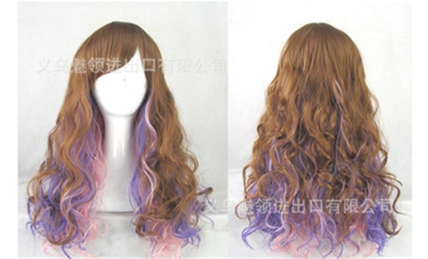 Brown Pink Purple Blended Lolita Wig For Girls