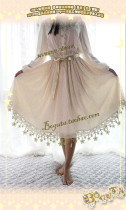 Boguta Lolita~ Stars Theme Lolita Petticoat/Skirt Dailywear Version Beige 60cm - In Stock