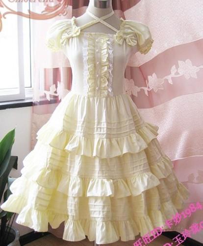 Yellow Lolita Ruffles OP Dress White Lace