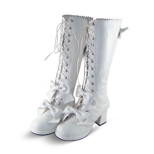 White Bows PU Lolita Boots