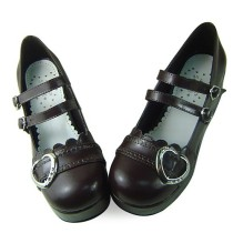 Sweet Heart Dark Coffee Lolita Shoes