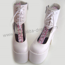 White Ankle High Lolita Platform Shoes
