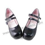 Black Double Strap Lolita Shoes