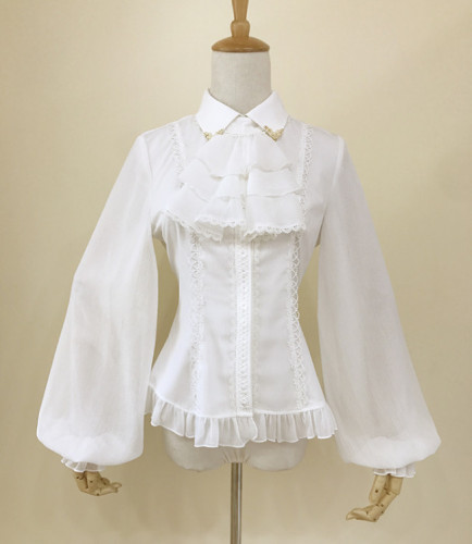 Chiffon Tailored Vintage Lolita Blouse White Size XL - In Stock