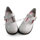 Glossy White Flats Girls Lolita Princess Shoes